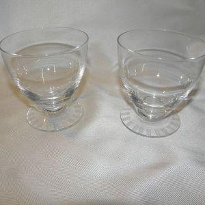 "PAIR OF DAUM FRANCE GLASSES~ 3 1/2"" TALL X 3 3/8"""